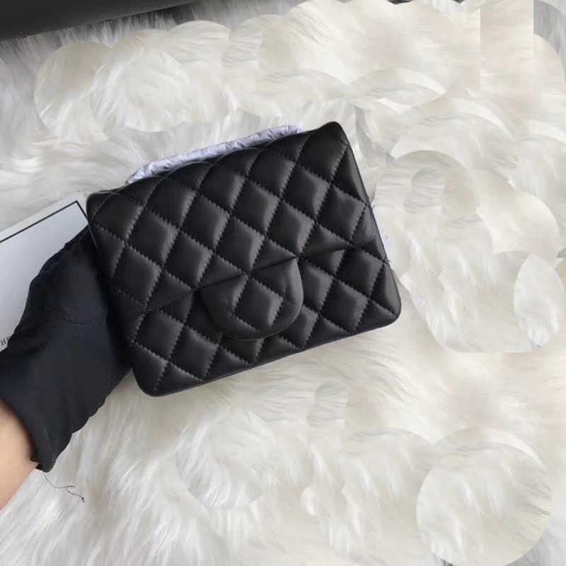 638209c1e898 Female designer chain mini small square bag flap shoulder handbag caviar  lambskin real leather crossbody bag