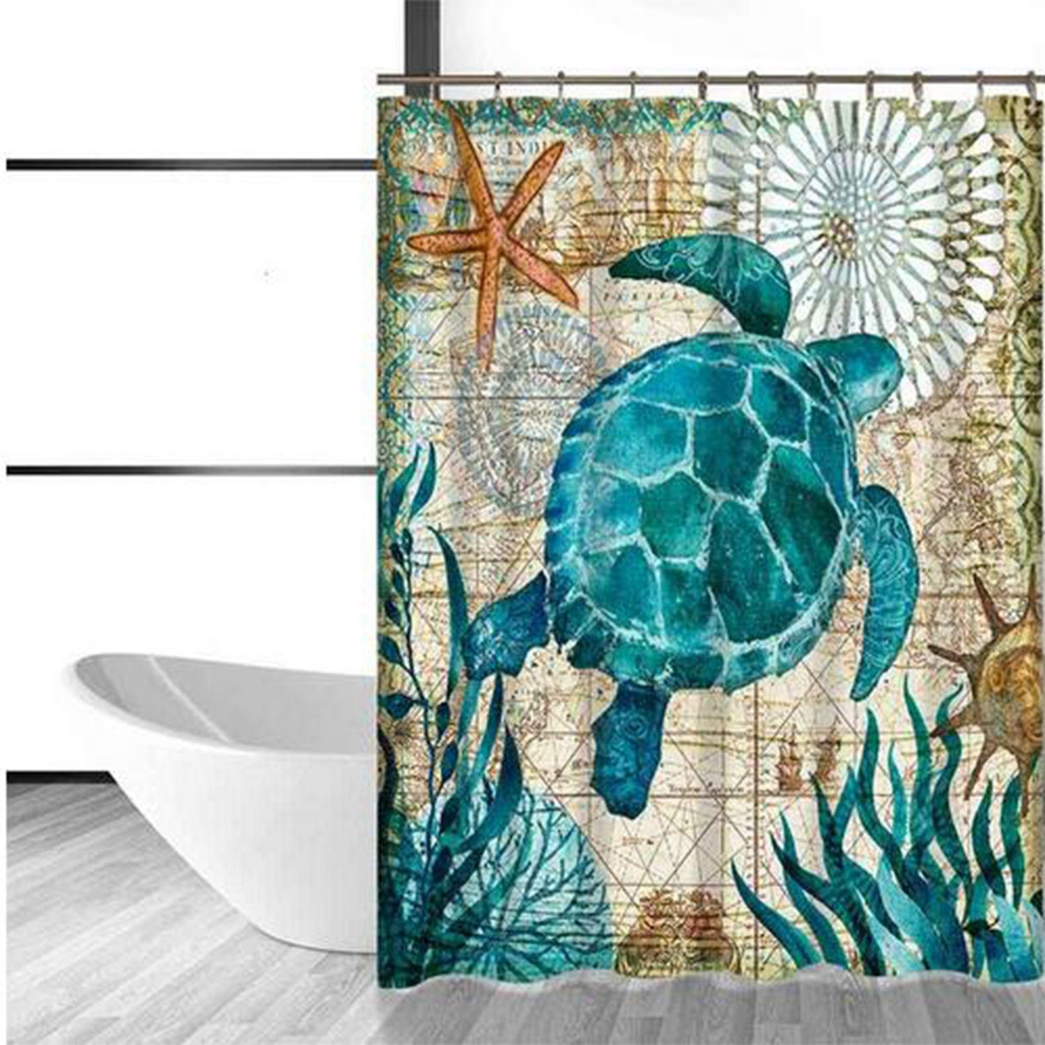 Us 8 19 24 Off Sea Turtle Waterproof Shower Curtain Octopus Home Bathroom Curtains With 12 Hooks Polyester Fabric Bath Curtain In Shower Curtains