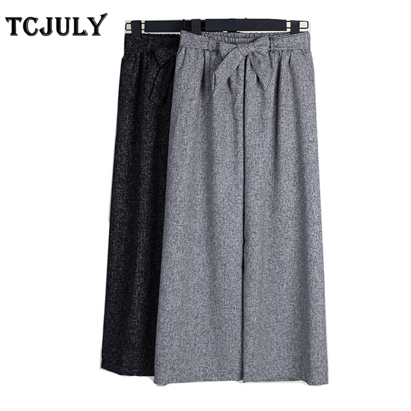 TCJULY Korean Fashion Linen   Pants   Women Bow Sashes Decoration Loose Casual   Wide     Leg     Pants   Plus Size Stretched Trousers For Women