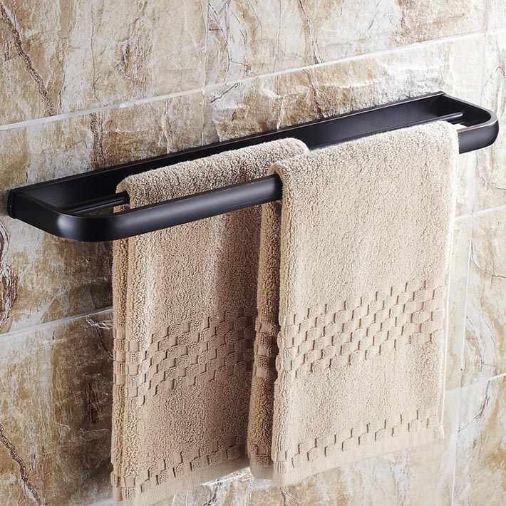 2015 new arrival Oil Rubbed Bronze Finished Bathroom Wall Mounted Double Towel Bar Solid Brass Dual Rod Towel Rack allen roth brinkley handsome oil rubbed bronze metal toothbrush holder