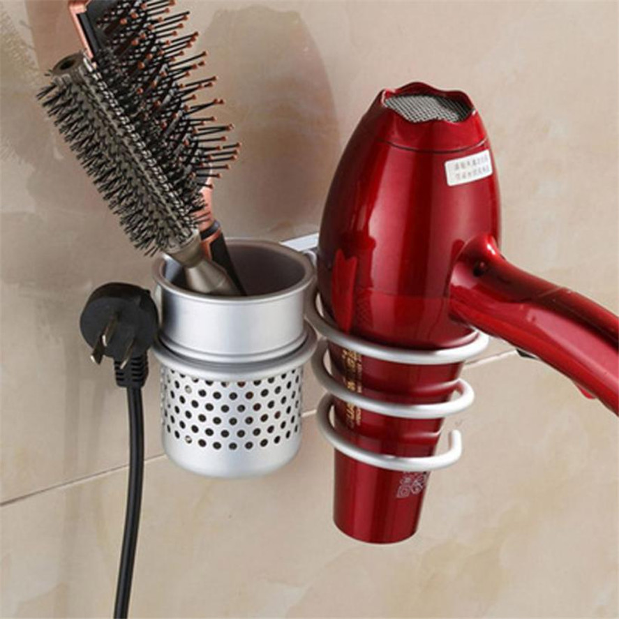 New Hair Salon Styling Accessory Tool 1PC Metal Hair Dryer Comb Rack Wall Mount Bathroom Flat Spiral Stand Holder