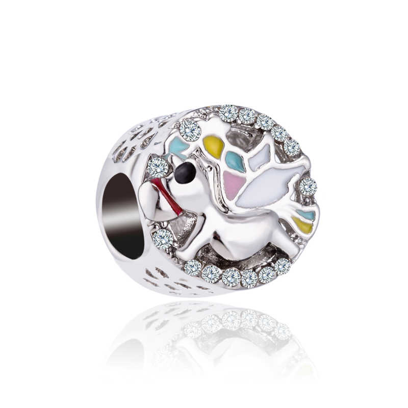 VINTAGE แก้วดาว BIRD Tree รองเท้าดอกไม้ Mickey ลูกปัด Charms Fit Pandora สร้อยข้อมือผู้หญิง DIY
