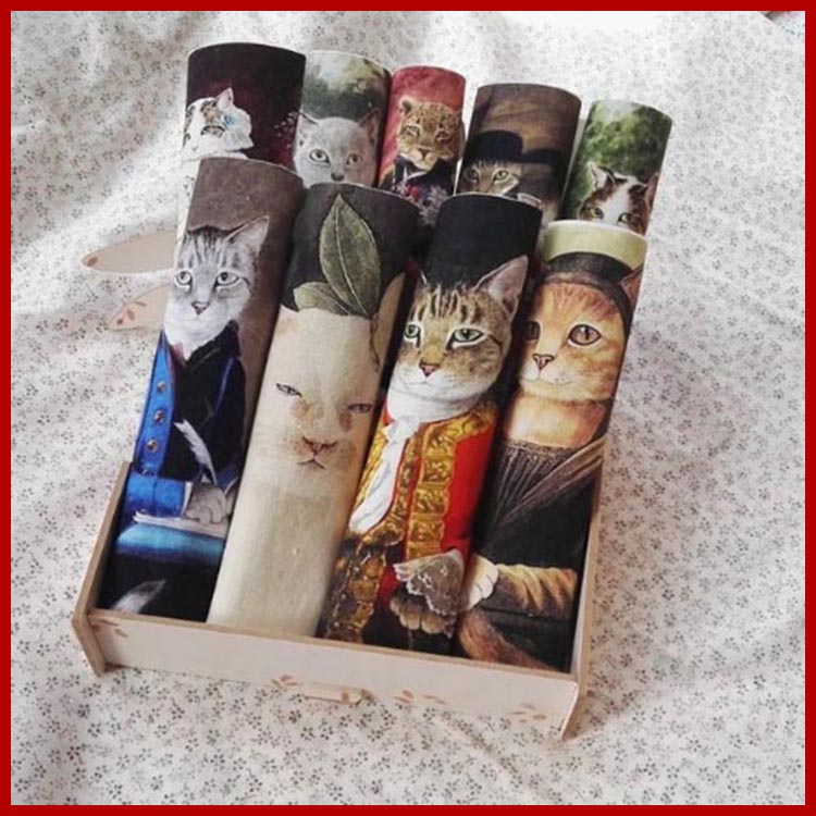 10pcs retro cats print fabric diy sewing patchwork Court cat design home decora making purse material cloth Frame Painting