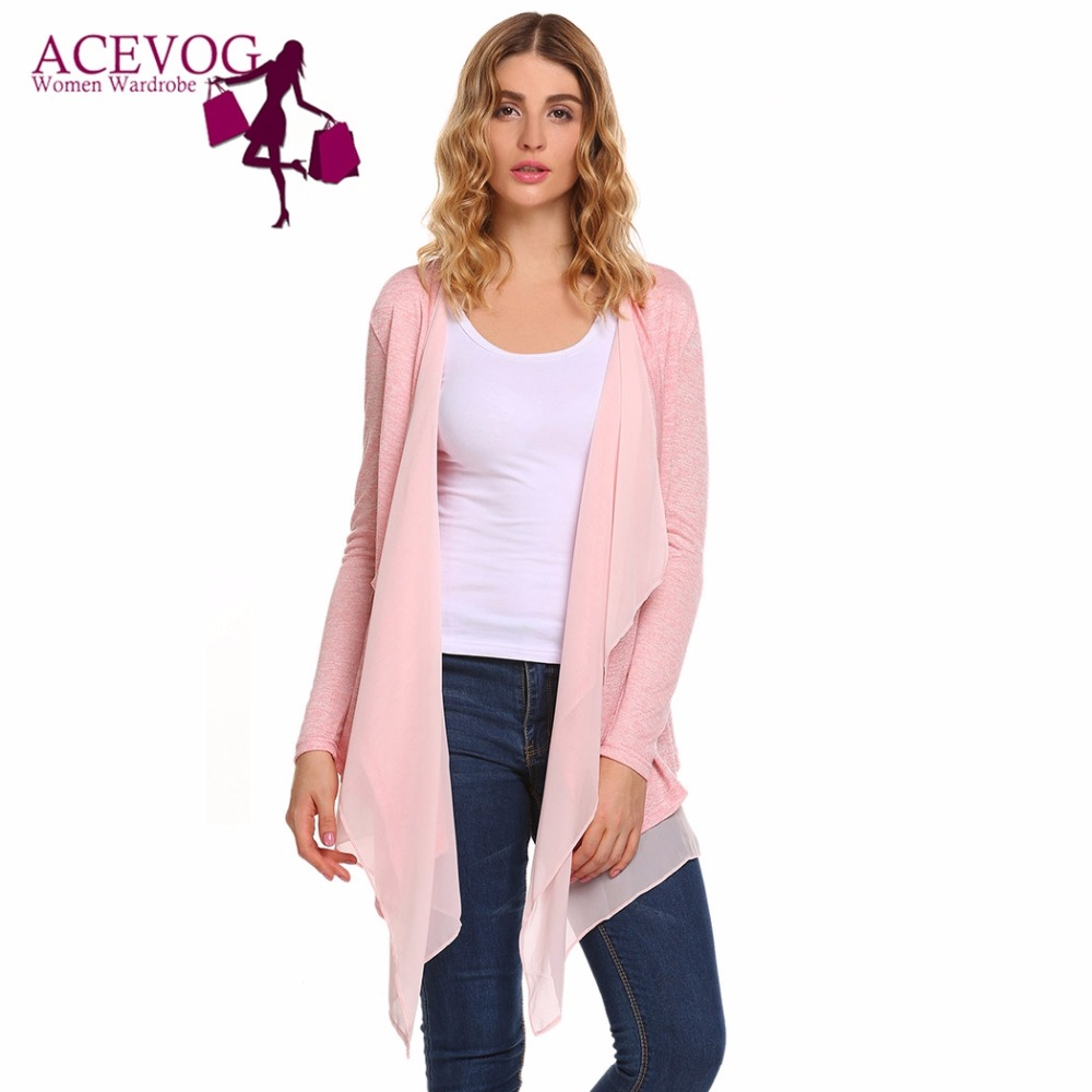 products chicloth hipster draped front cardigan plaid drapes open pink