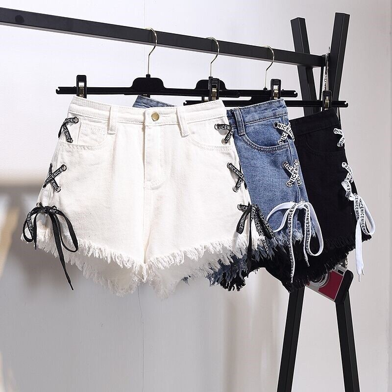 Denim   Shorts   for Women Vintage Ribbons High Waist Summer Casual Female Lace-up Mini   Shorts   Harajuku Jeans