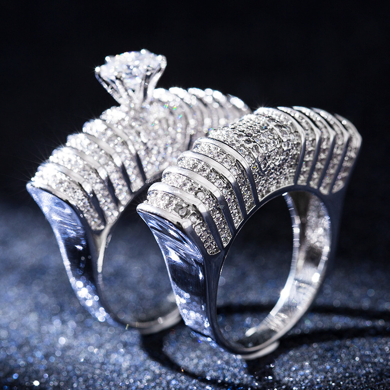 Huitan Statement Rings Red 5A Cubic-Zirconia Jewelry Ring Engagement Wedding Rings