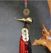 Car pendant pure copper gourd hanging car five money rearview mirror male and female jewelry