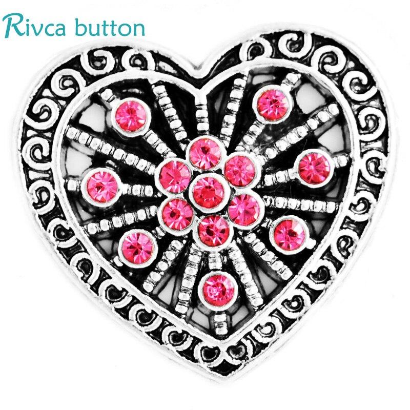 D03418 Новое поступление DIY 18 мм Сердце из металла со стразами шарма черный Кожаные браслеты rivca оснастки кнопку браслета