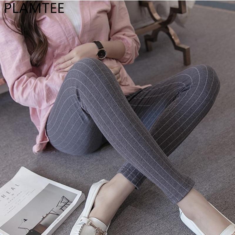 PLAMTEE Spring Maternity Leggings Striped Printing Elastic Waist Belly Pants For Pregnant Women Maternity Clothing M-XL 2019