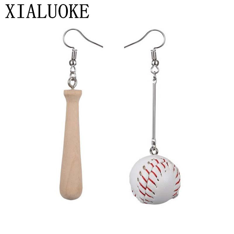 Hospitable Xialuoke Baseball Earrings The New Fashion Sportswear Long Creative Cool Baseball Asymmetric Pendant Earrings Wood Earrings