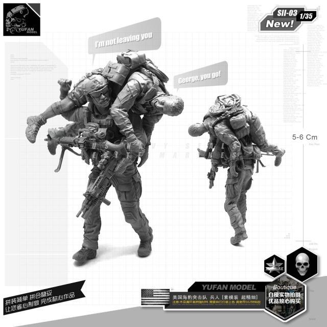 1/35 Model Kits  U.s. Seal Commando Evacuation From Battlefield 1/35 New Version Resin Soldier SII-03