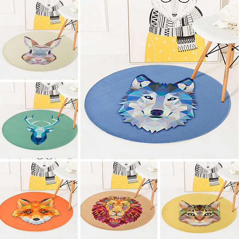 Creative Geometric Carpet Animal Print Round Kids Rug Bedroom Living Room Home Decor Thicken Soft Carpet Non-Slip Floor Mat