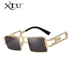 XIU квадратные стимпанк Солнцезащитные очки для мужчин и женщин винтажные солнцезащитные очки фирменный дизайн модные летние очки высшего качества UV400