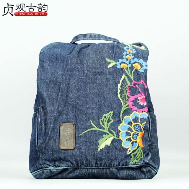 New Women Ethnic Embroidery Denim Backpack Bag Casual High Capacity National Style Lady Handmade Vintage Femme Canvas Travel Bag