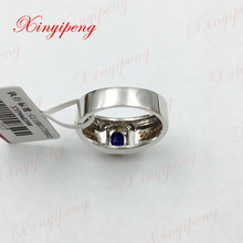 18 k white rose gold with 100% natural sapphire ring with diamond Sri lankan royal blue men fine jewelry 0.95ct