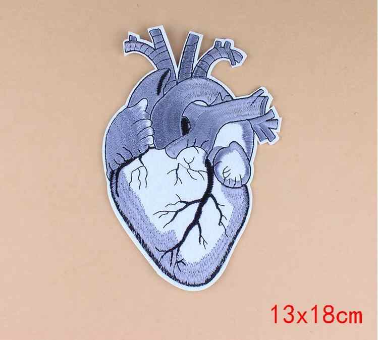 1PCS Heart Punk Patch Biker Rock Iron On Motorcycle Jacket Back Big Patches Cheap Embroidered Large Patches For Clothing Jeans