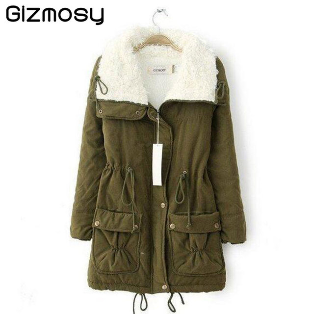 Winter Jacket Women 2017 Womens Parkas Casual Outwear Military Solid Coat Long Femme Army Green Clothes Cotton Padded SY022