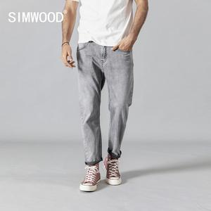 Image 1 - SIMWOOD 2020 winter spring new fashion jeans men ankle length denim trousers high quality brand clothing 190345