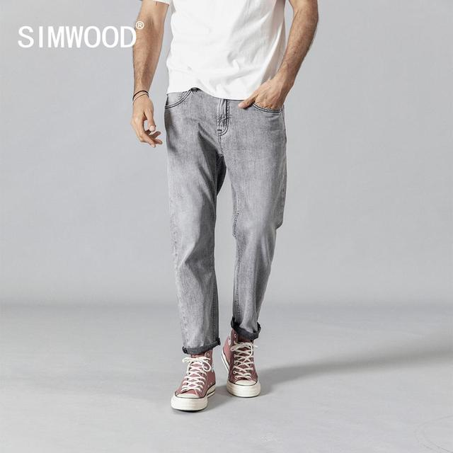 SIMWOOD 2020 winter spring new fashion jeans men ankle length denim trousers high quality brand clothing 190345