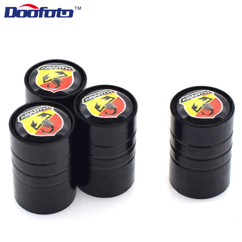 Doofoto Car Styling Auto Wheel Tire Valve Caps Case For Fiat 500 1100 For Abarth Palio Stilo Bravo Car-Styling Accessories 4pcs optical glass focal length optics double concave lens plano convex lens set for home made simple telescope