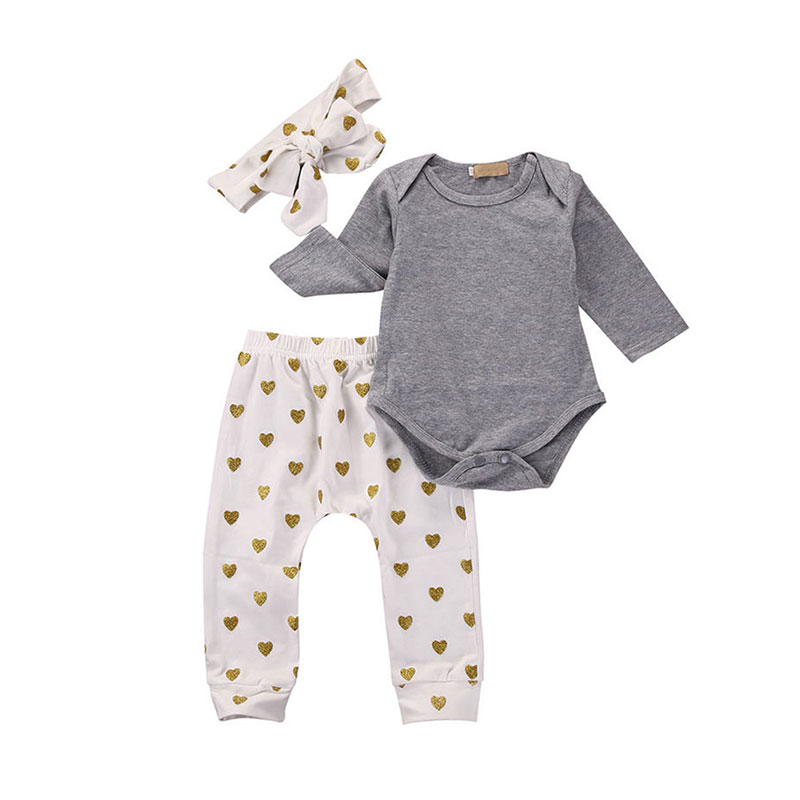 Fashion Spring Fall Girl 3 Piece Set Long Sleeve Romper + Pants + Headband Suit Heart Printed Infant Baby Clothing M09