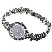 Лидер продаж Одежда высшего качества Бабочка Стиль браслет мозаика марказит женские наручные часы Ретро 925 наручные часы из стерлингового