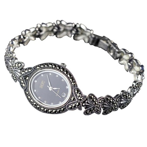 Quente de Alta Venda Qualidade Estilo Borboleta Pulseira Pave Marcasite Relógios Pulso Feminino Retro 925 Prata Esterlina Relógio Real