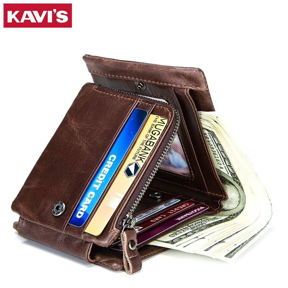 KAVIS Trifold Design Card Holder Genuine Leather Wallet Men Male Coin Purse Small Portomonee PORTFOLIO Card Holder High Quality