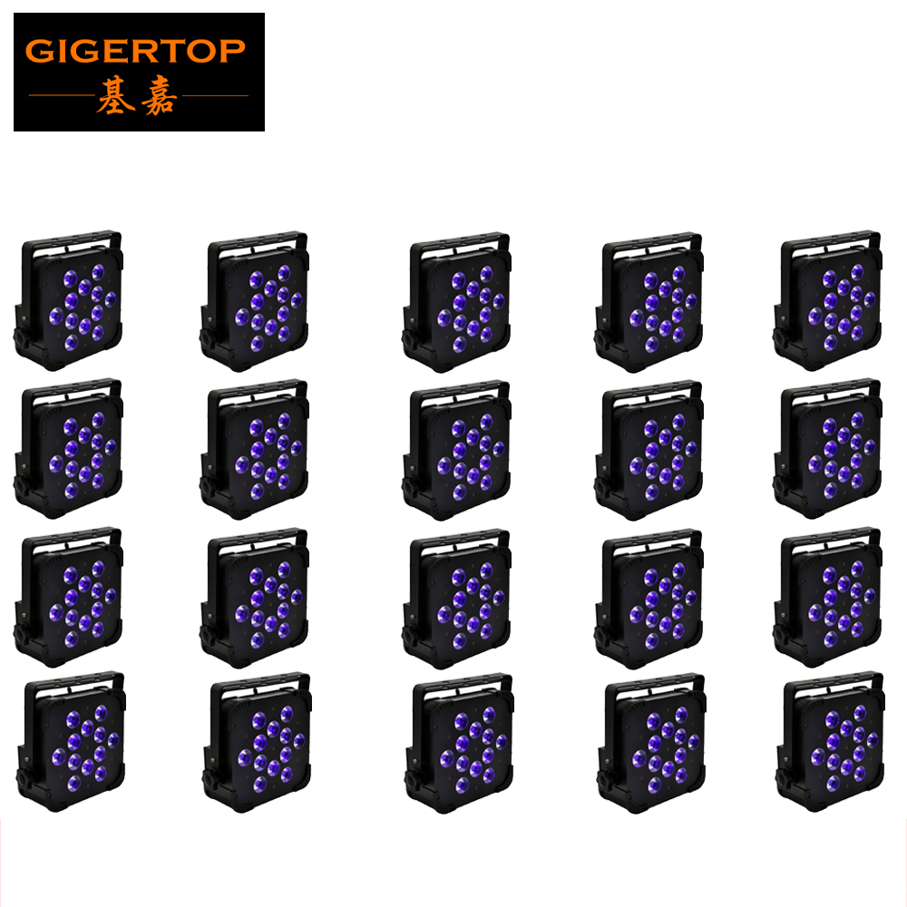 Free shipping 20pcs/lot,12pcs 18W RGBWA UV LED Flat Lighting Fixture Taiwan LED Stage Lighting DMX 6/10CH 90V-260V 6 Color Par led светильник bao workers in taiwan led
