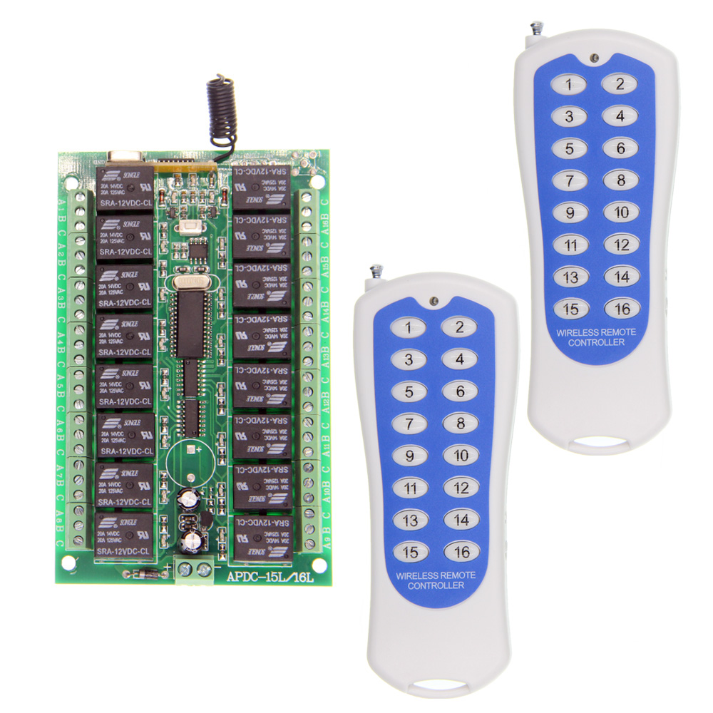 DC 12V 24V 16 CH 16CH RF Wireless Remote Control Switch System,2X Transmitter + Receiver,Jog Self-lock Inter-lock315/433.92 MHZ rf wireless remote control system wireless switch 2 transmitter remote control