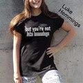 Pero usted no es Lucas Hemmings Camiseta 5 Segundos De Verano Tee T shirt Mujeres Sexy Manga Corta Camiseta de La Letra T-F10400