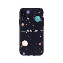 Custom Personalization Outer Space Moon Stars Girl Name Monogram Phone Black Case For iPhone 11 Pro XS Max XR X 7Plus 8Plus(China)