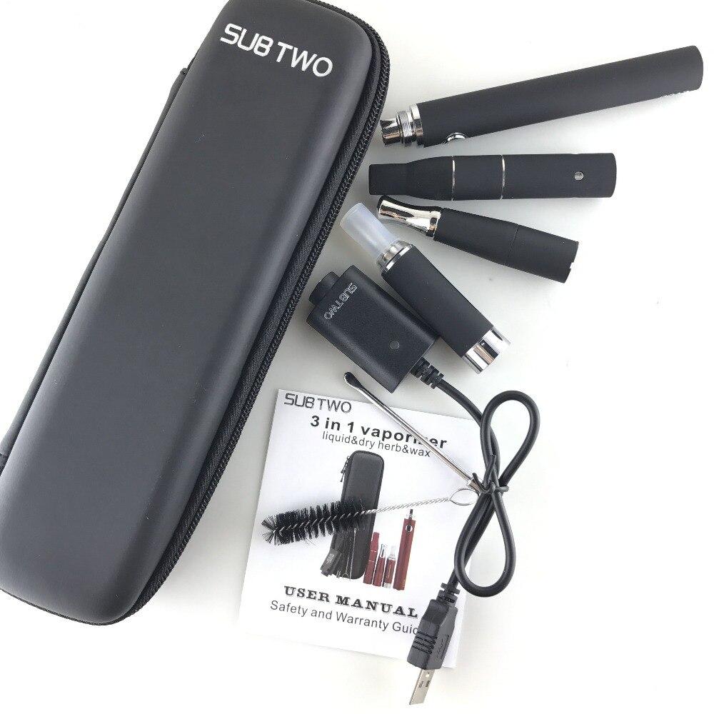 Cigarrillo electrónico SUB dos 3 en 1 e cigarrillo vaporizador hierba seca cera líquido cigarrillo electrónico starter Kit