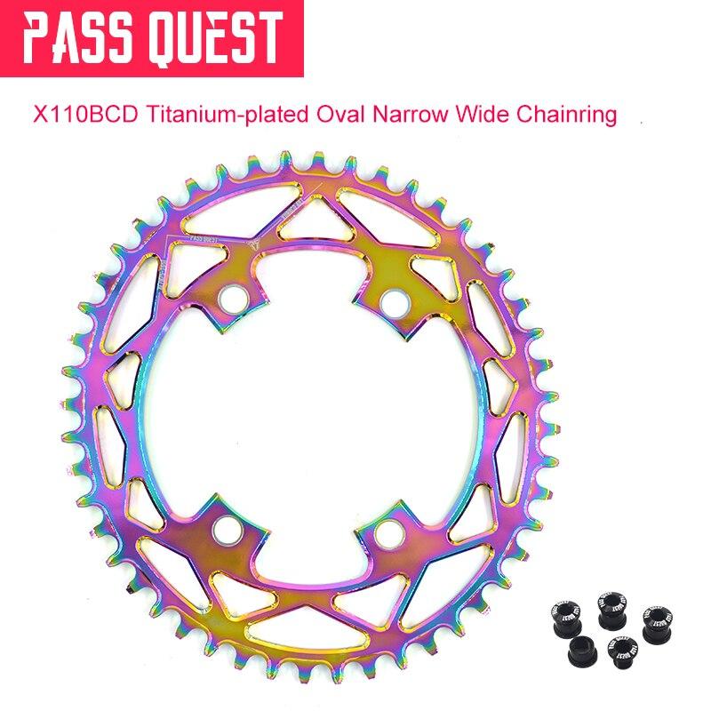 7075 aluminum alloy 110BCD Titanium-plated Oval Road Bike Narrow Wide Chainring 42T-52T R2000 R3000 4700 5800 6800 DA9000
