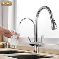 XOXO Filter Kitchen faucet deck installed black mixer tap crane rotate 360 degrees for kitchen faucet water features 81088