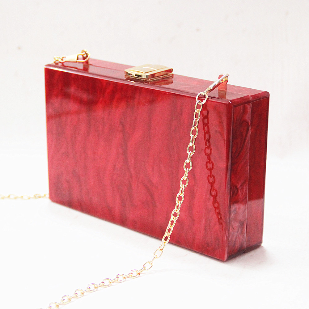 Image 5 - New Wallet Women Messenger Bag Brand Fashion Solid Handbag Marble Pearl Red Woman EveningBag Luxury Small Shoulder Casual Clutch-in Clutches from Luggage & Bags