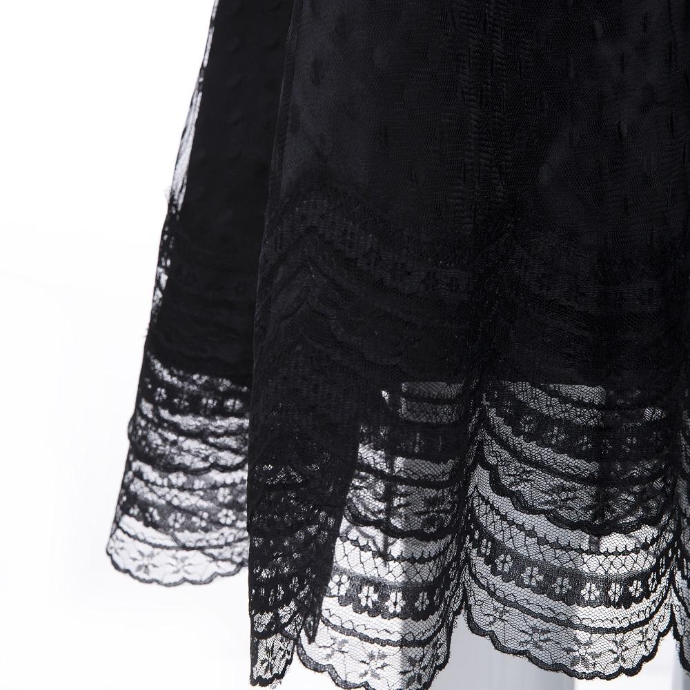 Sisjuly Vintage Gothic Black Dress Women Plus Size Autumn Winter Lantern Sleeve Stand Collar Ruffles Polka Dot Mesh Lace Dresses 5