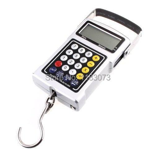 Многофункциональные цифровые подвесные весы 50 кг 20 г, электронные портативные весы с крючком для багажа, калькулятор, термометр, лента, бала...