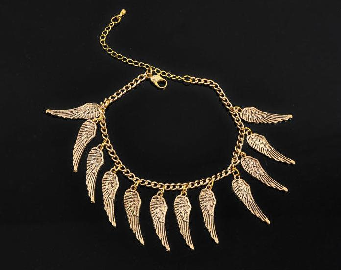 Vintage angel wings Anklet female fashion alloy gold plated foot bracelet women barefoot sandals jewelry