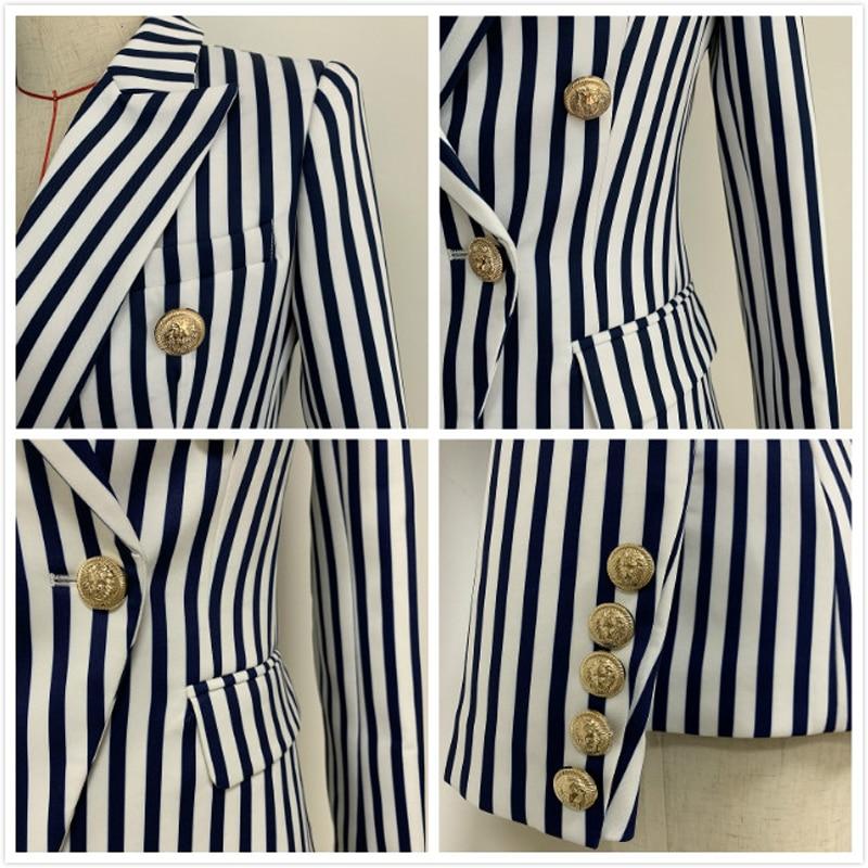 2019 Spring Autumn Women's Jacket Blazer Coat Double Breasted Long Sleeve Short Office Blazer Women Striped Slim Blazer Feminino