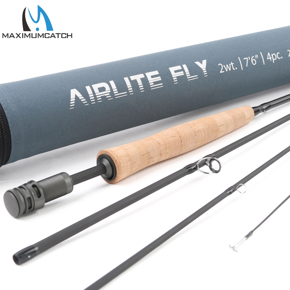 Maximumcatch Top Grade Airlite 7'6'' Fly Fishing Rod 2WT/3WT Super Light Graphite Carbon Fiber Fly Rod with Cordura Tube цена