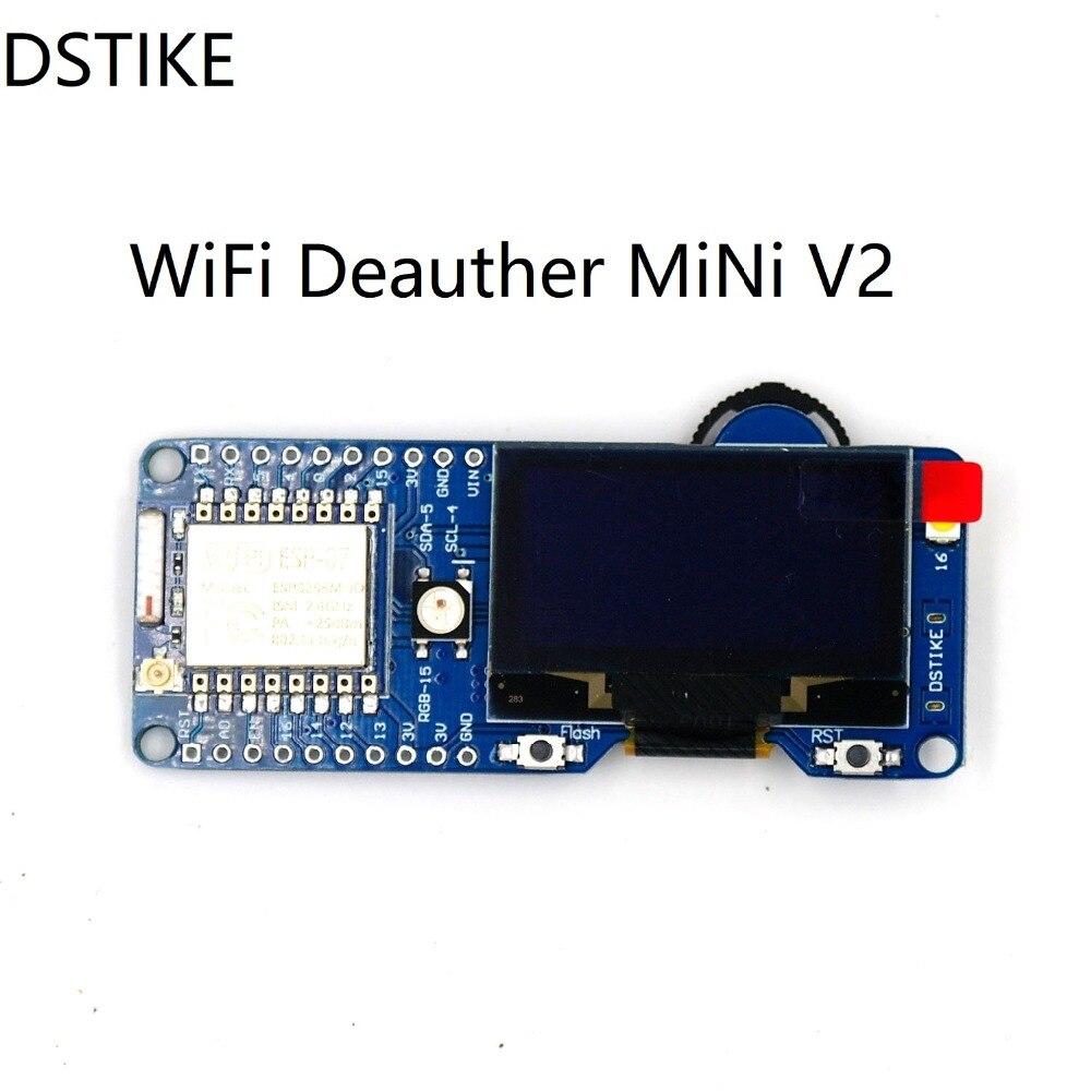 DSTIKE Deauther MiNi V2 Pre-flashed WiFi Attack ESP8266 OLED Arduino NodeMCU development board ESP07 antenna cp2102 battery