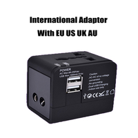 Universal International Plug Adapter All in One 2 Porta USB Del Mondo viaggi Caricatore di CORRENTE ALTERNATA Adattatore con AU STATI UNITI REGNO UNITO Spina Europea