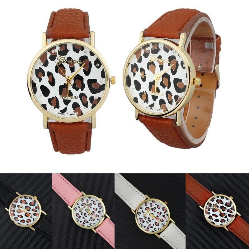 2017 Wrist Watch Women Ladies Female Wristwatch Diamond Women Leopard Printing Pattern Weaved Leather Quartz Dial Watch