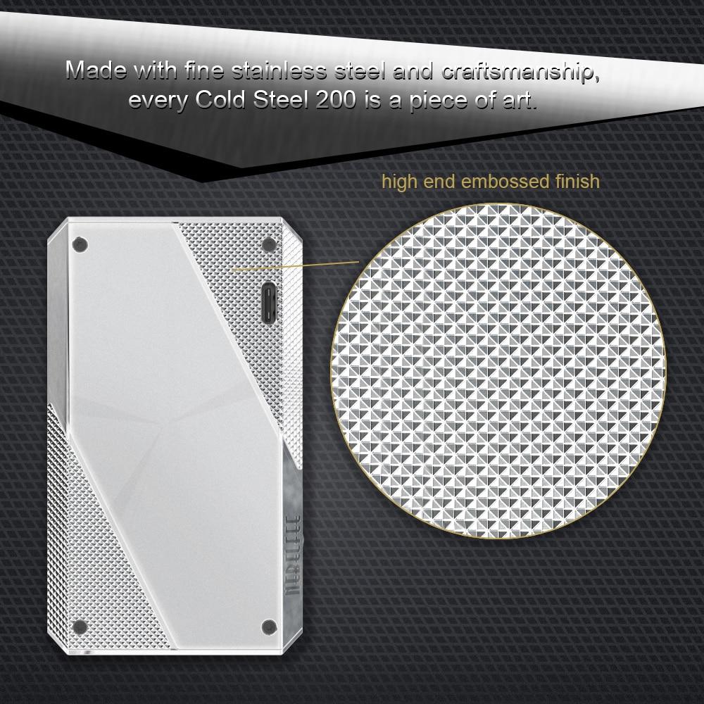 EHPRO acier froid 200 W boîte Mod Vape Cigarette électronique avec écran d'affichage batterie externe 18650 acier inoxydable TC mods Ecig - 5