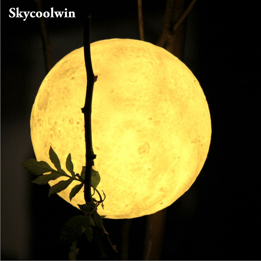 Rechargeable 3D Print Moon Lamp 6 Color Change Remote Control Switch Bedroom Bookcase Night Light Home Decor Creative Gift easter gift remote control led color change night light