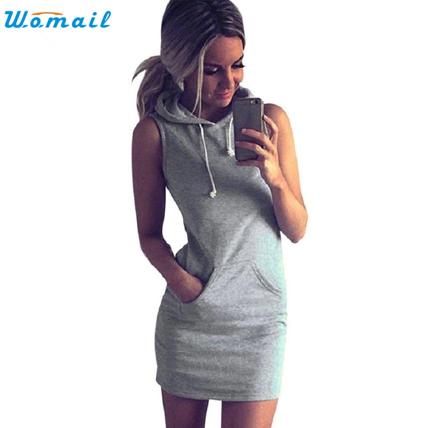 Fashion Dress Womens Summer Casual Sleeveless Hoodie Dress Summer Suits Tracksuit femme Sportswear Vestidos Female Au8