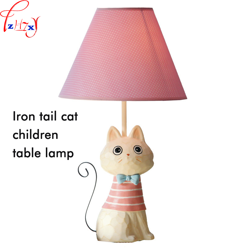 1PC Iron Tail Cat Child Table Lamp 31 40W LED Adjustable Light Bedside Lamp Decoration Cat Cartoon Model Light 110/220V