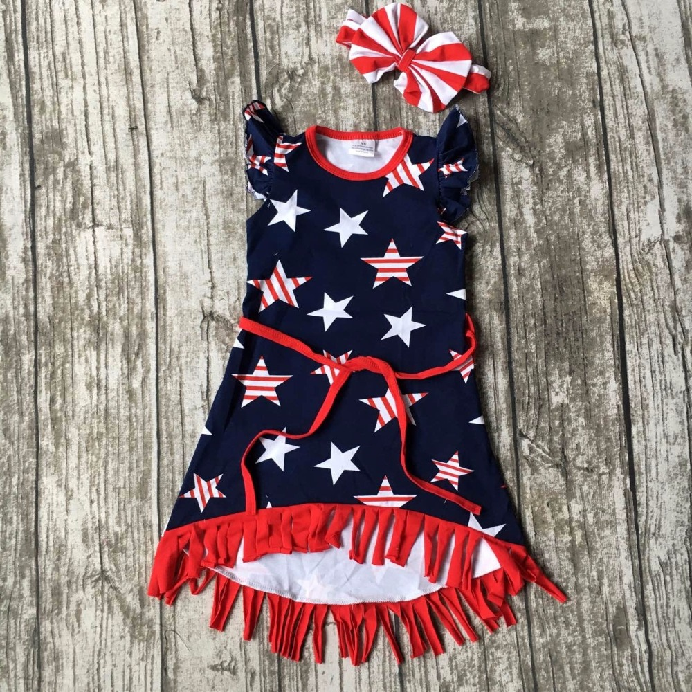 new arrival July 4th baby girls kids summer fringe tassels outfits dress star print belt navy