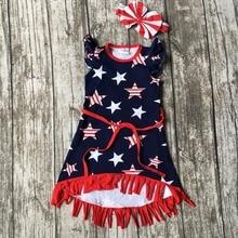Nouvelle arrivée Juillet 4ème bébé filles enfants d'été fringe glands tenues dress étoiles impression ceinture marine rouge correspondant accessoires arc ensemble